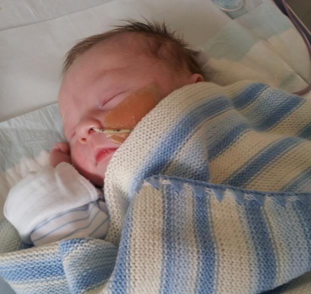 Evan in hospital